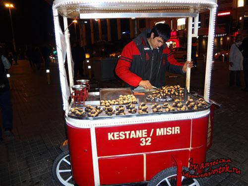 Уличная торговля, продавец каштанов
