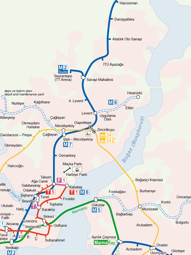Карта метро ветки М2