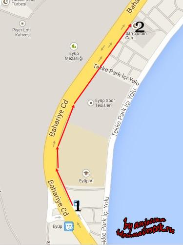 Дорога от автобусной остановки к мечети Шах Султан